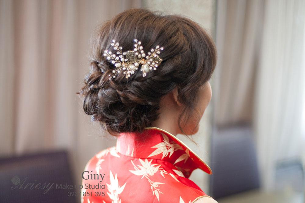 Giny新秘,愛瑞思造型團隊,台北新娘秘書,新娘秘書,清透妝感,蓬鬆盤髮,線條盤髮,復古造型,古華飯店,旗袍造型