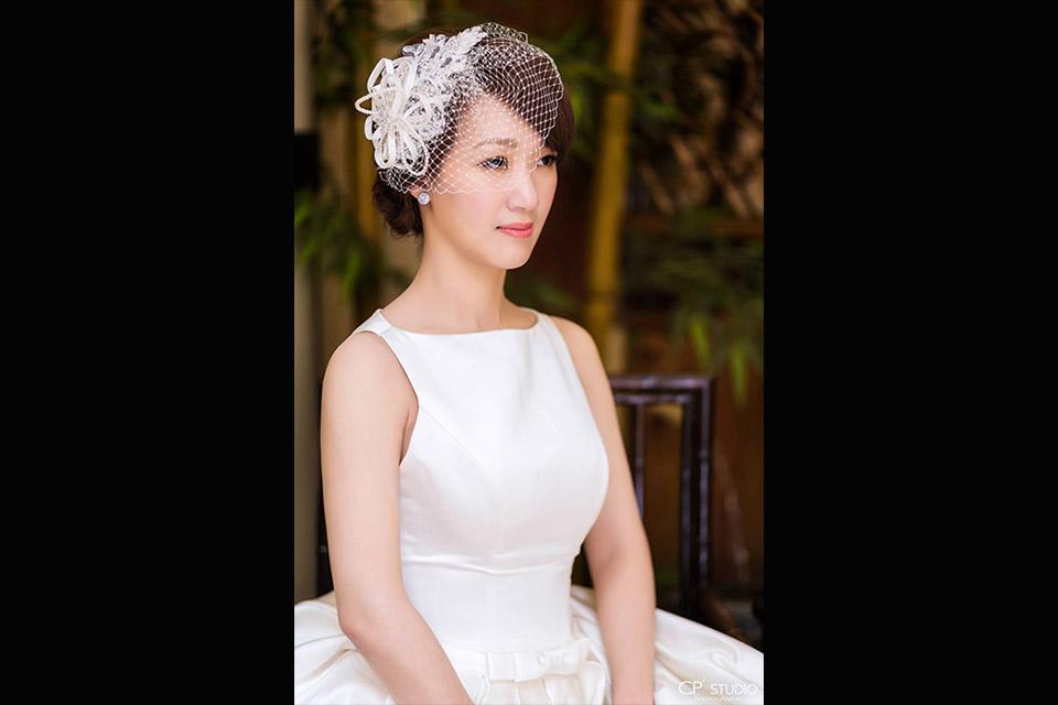 Giny,新娘秘書,新秘,短髮新娘造型,鮮花花藝新娘造型,台北朝桂餐廳