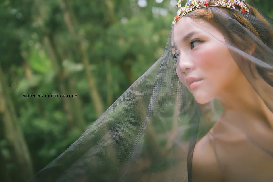 自助婚紗,台北新秘,皇冠造型,手做捧花,魚尾禮服,陽明山黑森林