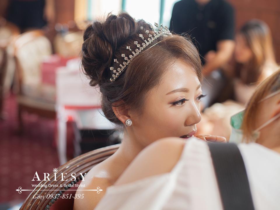 歐美新秘,清透自然妝感,編髪新娘造型,鮮花新娘造型,短髮新娘