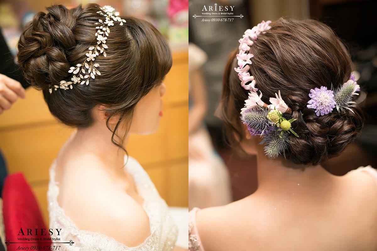 鮮花編髮,新娘秘書,台北新秘,新娘髮型