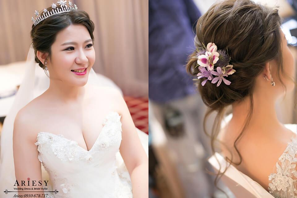 新娘秘書,台北新秘,愛瑞思,ariesy,歐美鮮花編髮