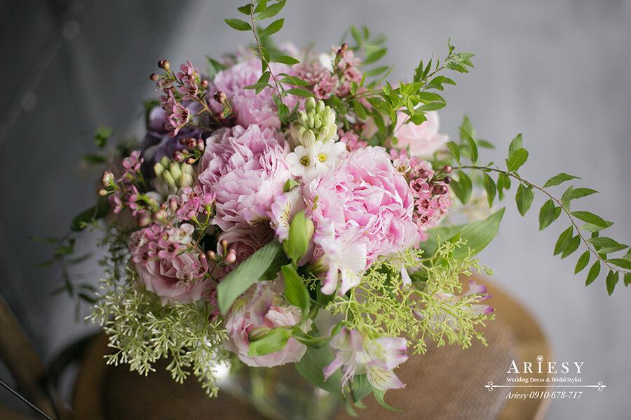 牡丹新娘捧花,粉紅色捧花,歐美風,愛瑞思新秘鮮花造型