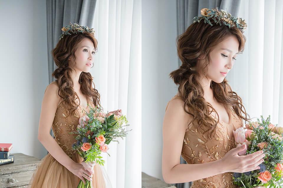 新娘秘書,台北新秘,森林系新娘造型,花圈造型