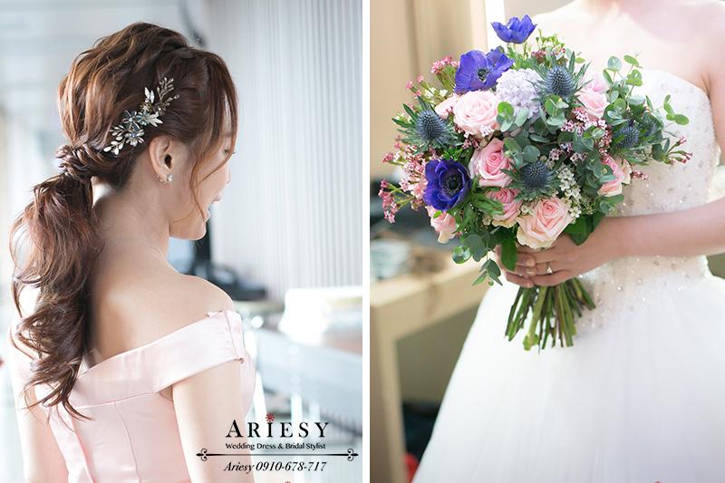 粉色魚尾禮服,新娘捧花,新秘推薦,新娘秘書,時尚低馬尾,新娘造型
