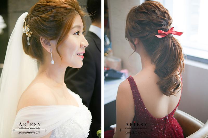 單眼皮新娘,新娘頭紗髮型,文定髮型,蝴蝶結造型,紅色禮服,白紗造型,ARIESY