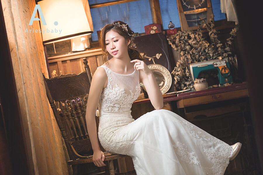 白紗魚尾造型,新娘髮型,蕾絲白紗,新莊禮服出租