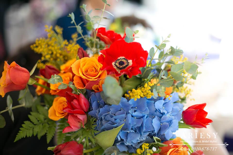 美式婚禮,美式胸花,主婚人胸花,歐美新娘捧花,Bridal bouquet,鮮花新秘