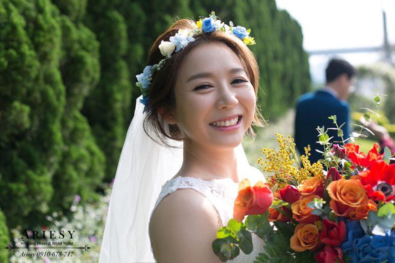 歐美新娘造型,新娘秘書,Ariesy,新娘妝髮,歐美捧花,短髮新娘造型,Bouquet