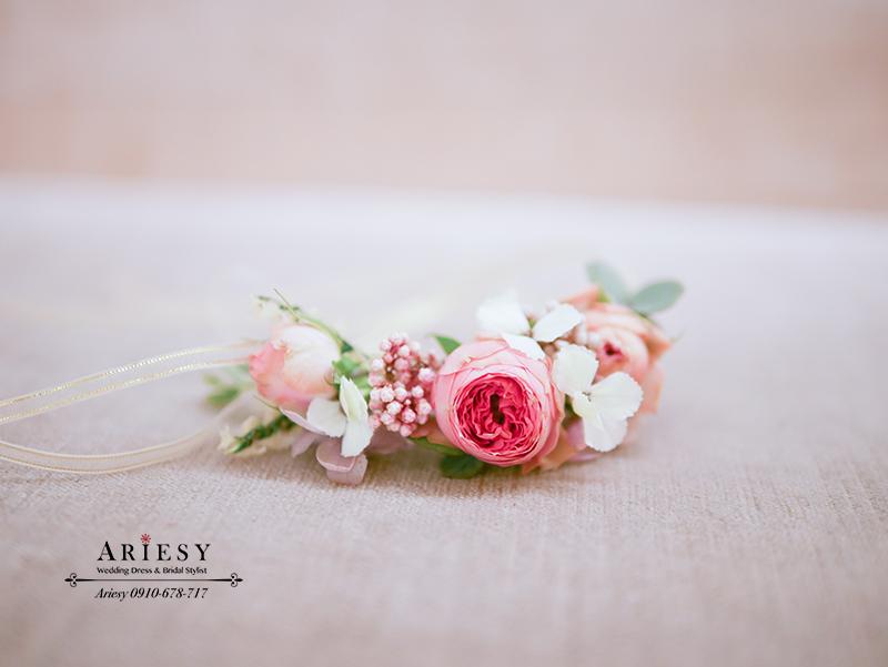 田園迷你玫瑰,新娘手花環,鮮花手腕花,新秘作品,愛瑞思,ariesy,美式婚禮