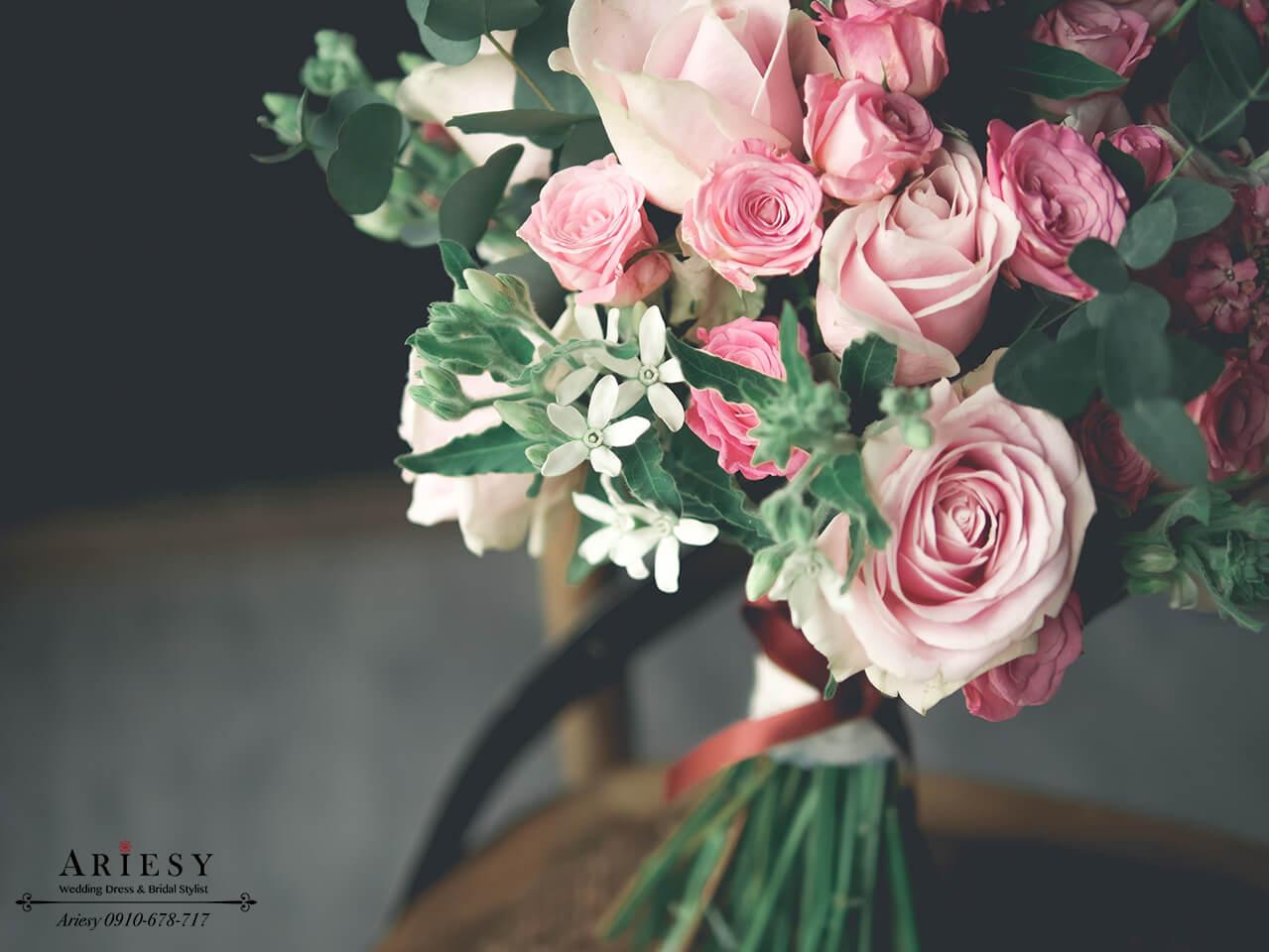 歐美捧花,美式捧花,粉玫瑰捧花,新娘捧花,Bridal bouquet