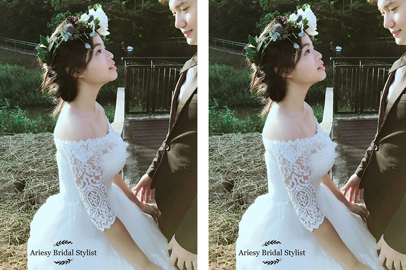 松果花圈,美式婚禮,戶外婚禮,婚紗照花圈,新娘造型