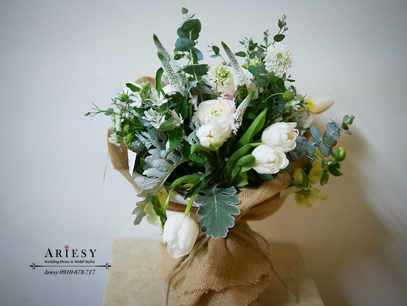 Bridal Bouquet,繽紛捧花,顏氏牧場,歐美風捧花,白綠捧花,陸蓮捧花,新娘捧花