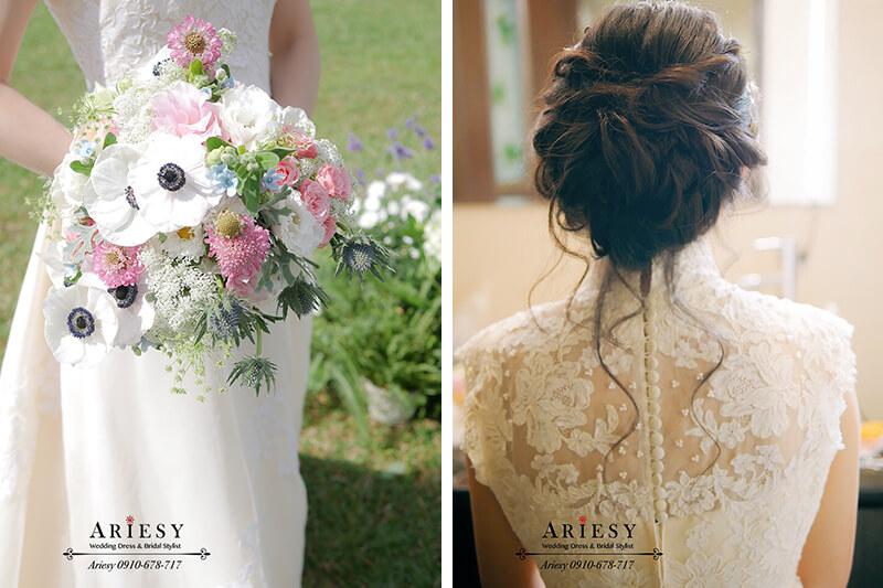骨董白紗,歐美風新娘,戶外婚禮,新娘捧花,美式婚禮