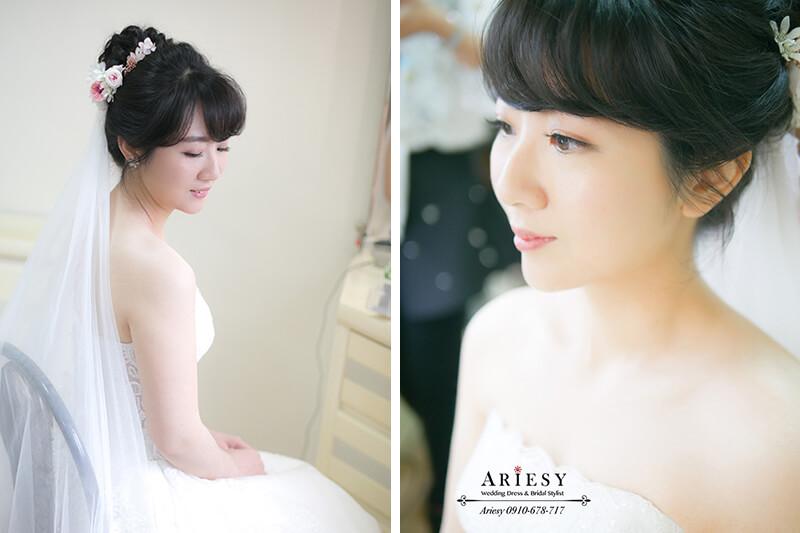 迎娶白紗新娘造型,黑髮新娘,新娘自然妝感,鮮花新娘髮型,愛瑞思