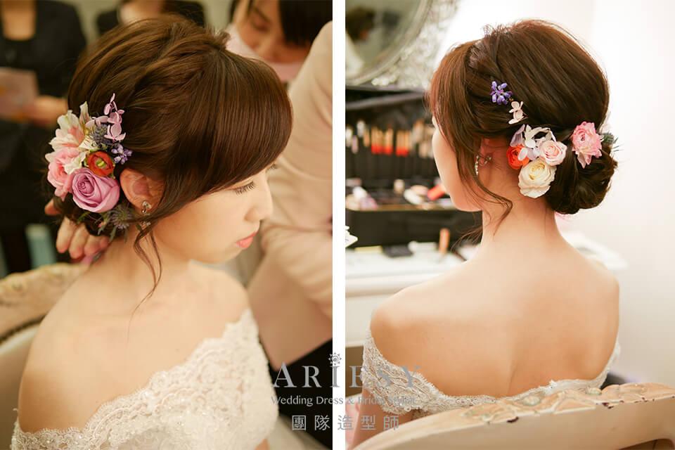 新秘花藝,新秘推薦,新娘自然妝感,鮮花造型,新娘造型