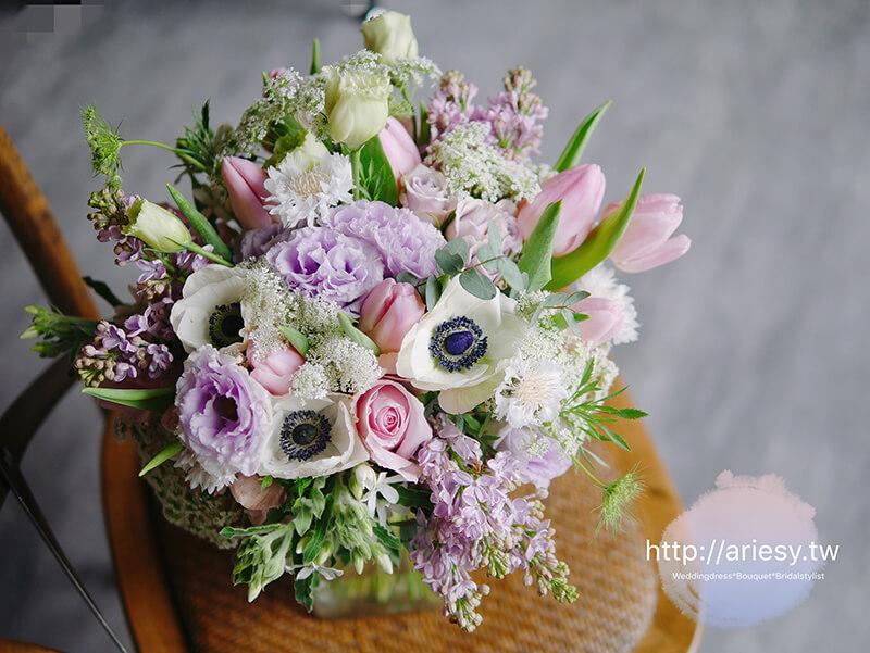 美式新娘捧花,歐美新娘捧花,新娘秘書,台北新秘,繽紛粉紫色系新娘捧花