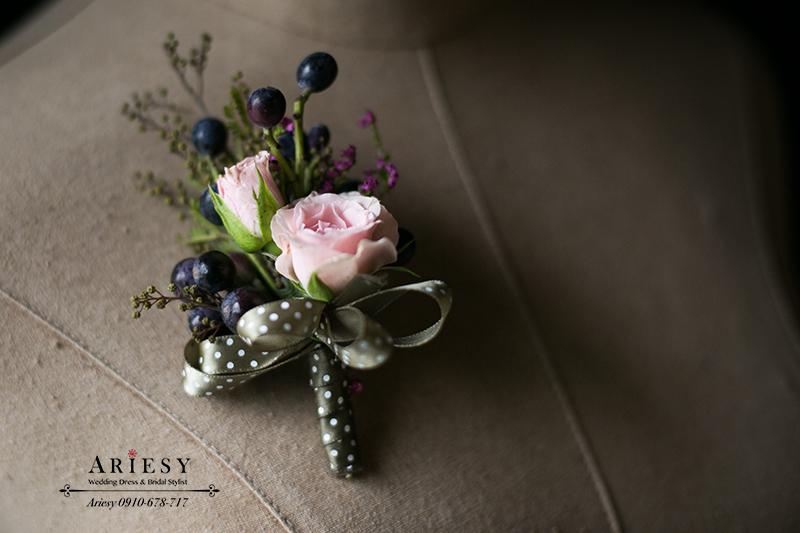 美式婚禮胸花,粉紅色胸花,主婚人胸花,新娘捧花,新郎胸花