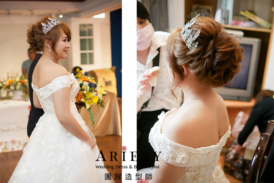 新秘作品,新娘妝,新娘造型,白紗進場造型,新娘編髮