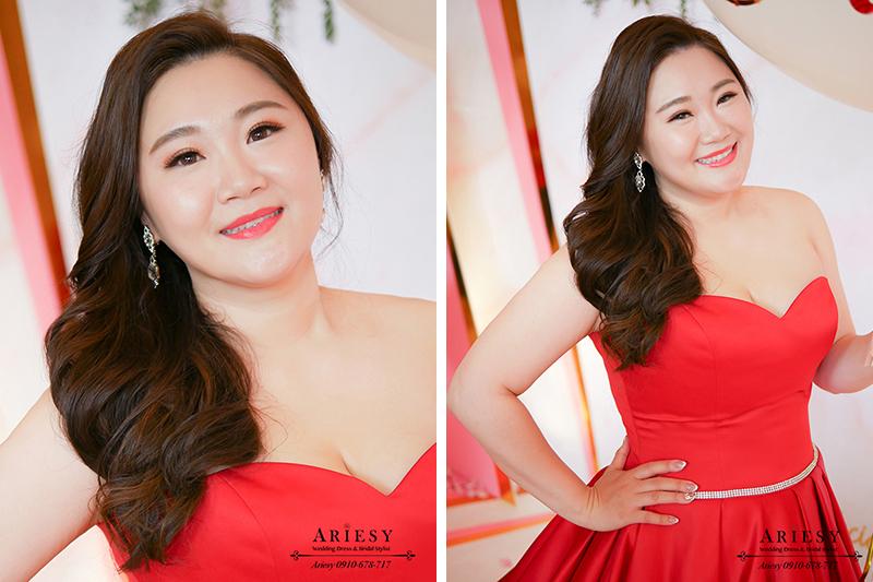 時尚名媛新娘髮型,紅色禮服造型,林酒店婚宴,新娘髮型