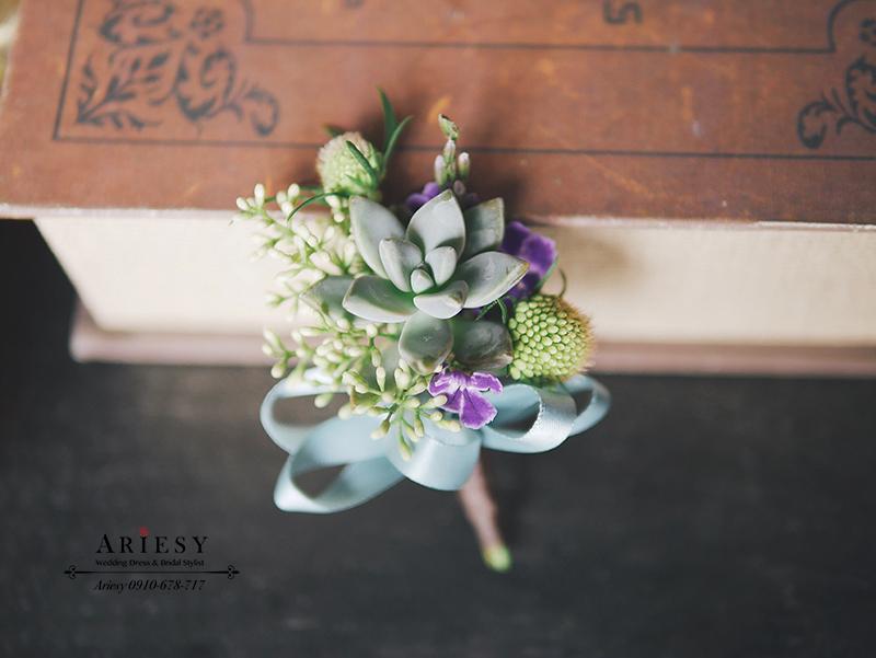 多肉新郎胸花,美式婚禮,新郎胸花,紫藍色系捧花,ariesy