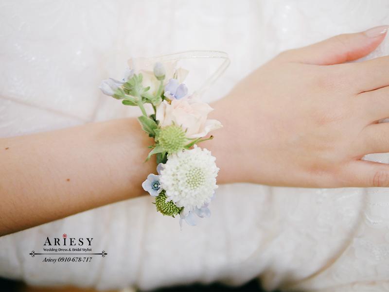 新娘手環,粉色新娘手腕花,鮮花新秘,台北新秘,愛瑞思