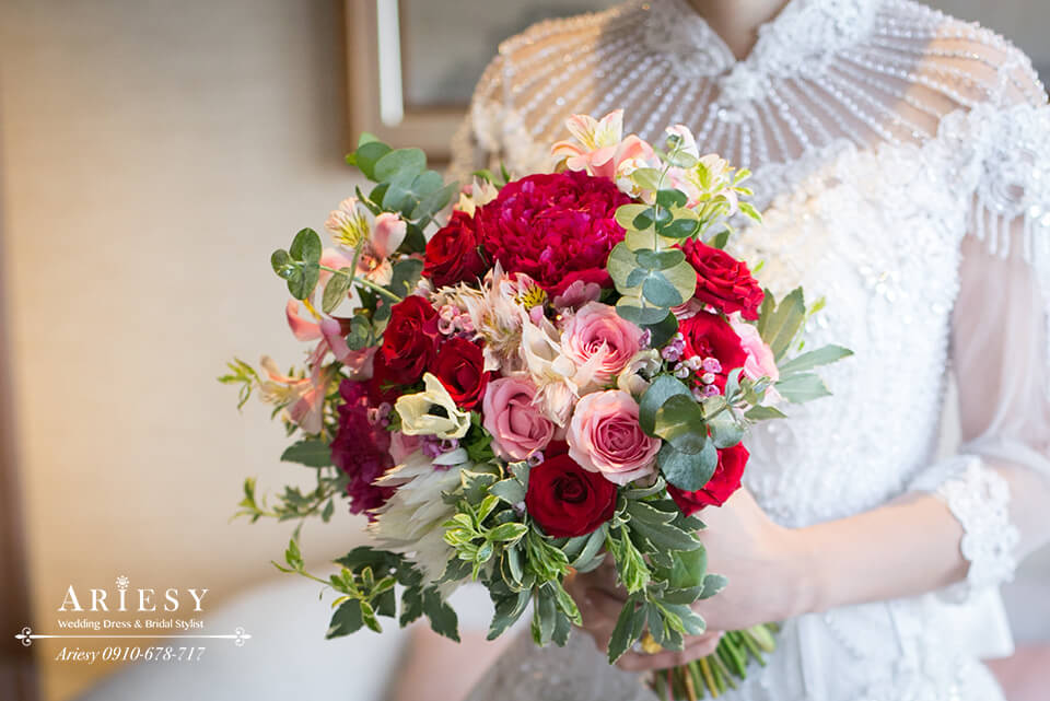 Bridal Bouquet,美式新娘捧花,歐美新娘捧花,新娘秘書,台北新秘,大紅色系新娘捧花
