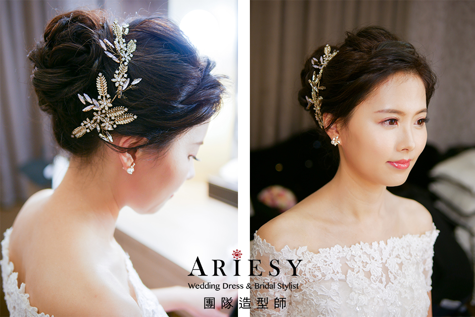 新娘文定造型,新娘妝感自然,鮮花飾品,新娘秘書推薦,粉紅色禮服造型