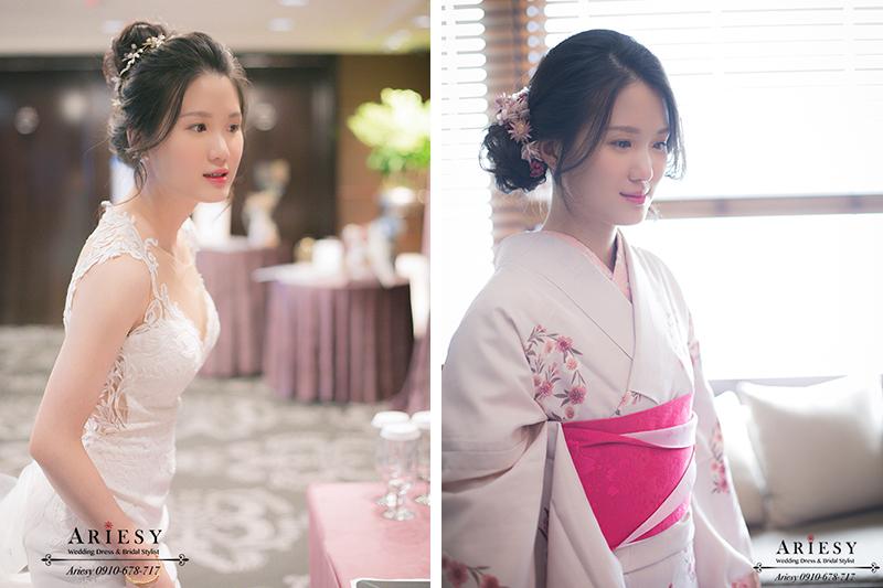 和服新娘造型,韓風新娘,白紗造型,新娘秘書,台北新秘,愛瑞思,ARIESY