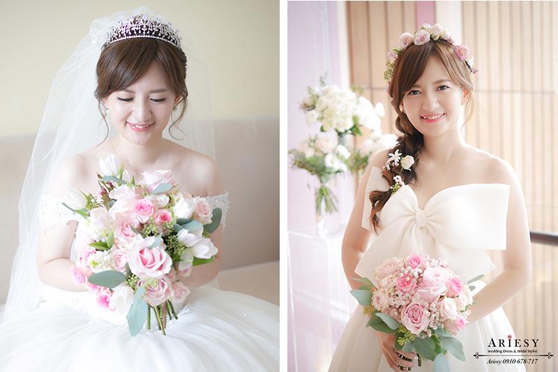 韓風新娘白紗造型,日系新娘,皇冠,愛瑞思,Ariesy,大倉久和,新娘捧花,鮮花花圈新娘造型