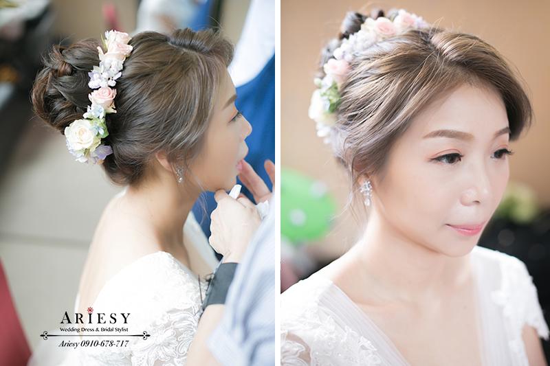鮮花造型,花圈造型,鮮花新秘,新娘秘書,新娘髮型,白紗造型,新娘妝髮,台北新秘