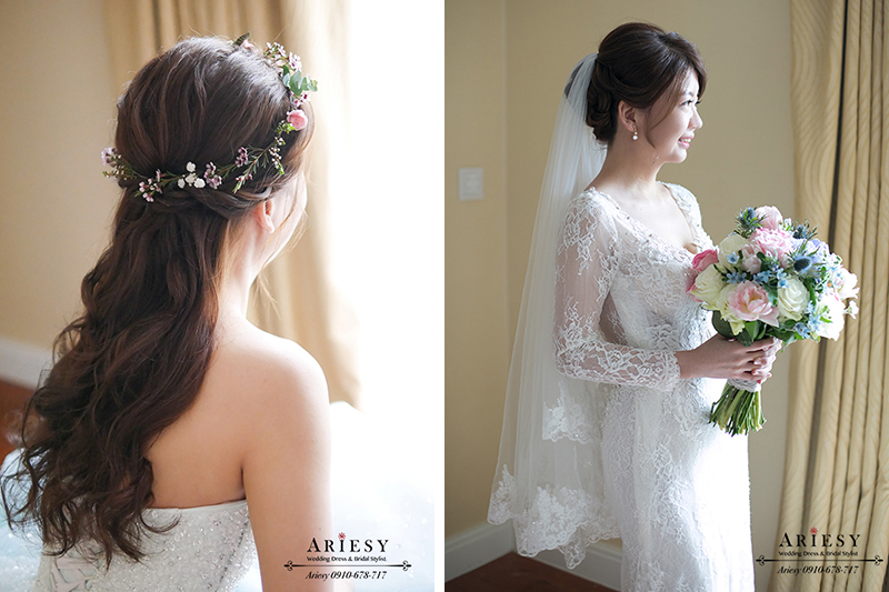 第九大道白紗,ARIESY愛瑞思婚紗,白紗造型,新娘捧花,台北新秘推薦,新娘造型,.歐美新娘髮型