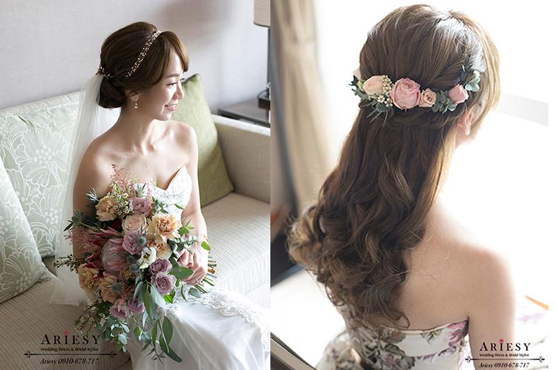 莫蘭迪色新娘捧花,公主頭新娘造型,歐美風新娘髮型,新娘白紗造型,新秘愛瑞思,ARIESY新娘秘書
