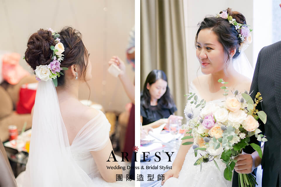 鮮花造型,新娘秘書推薦,新娘花圈,新秘花藝,編髮造型