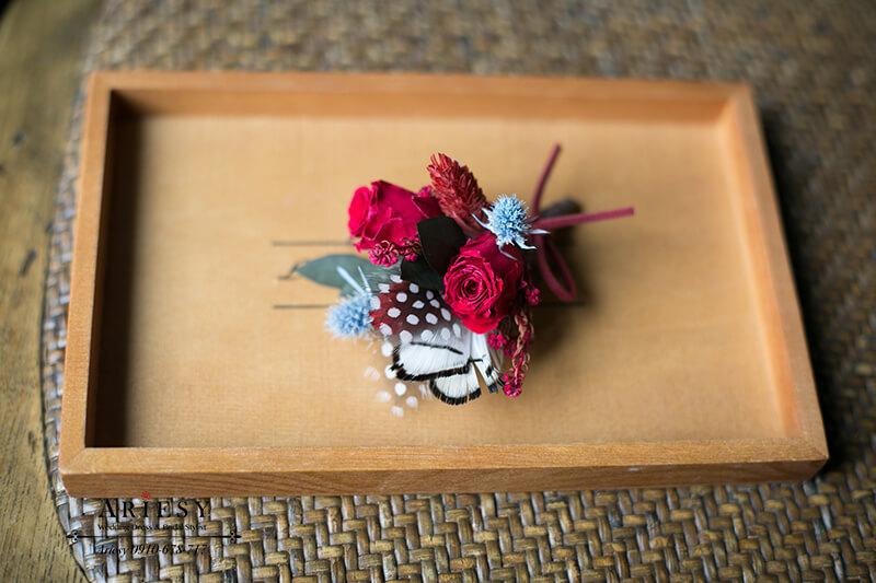 美式婚禮胸花,紅色胸花,主婚人胸花,永生花胸花,不凋花胸花
