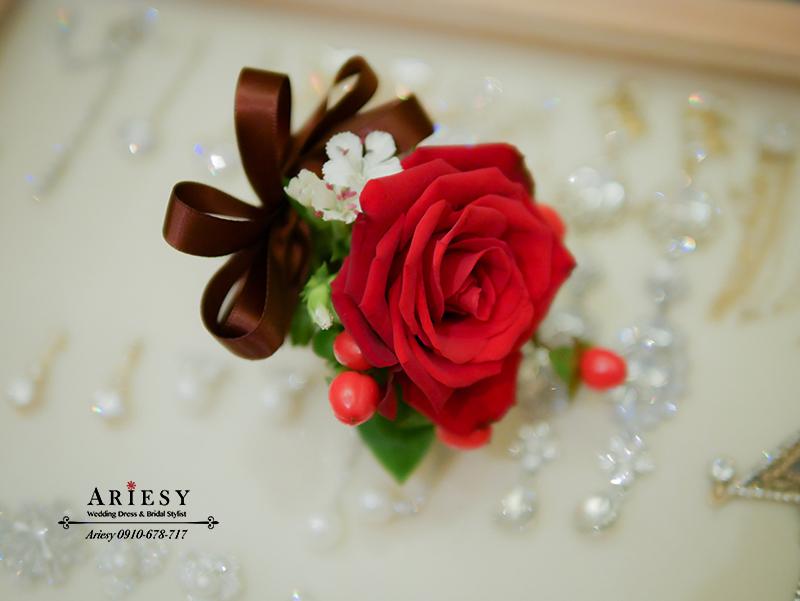 證婚人胸花,主婚人胸花,紅色胸花,新娘秘書,台北新秘