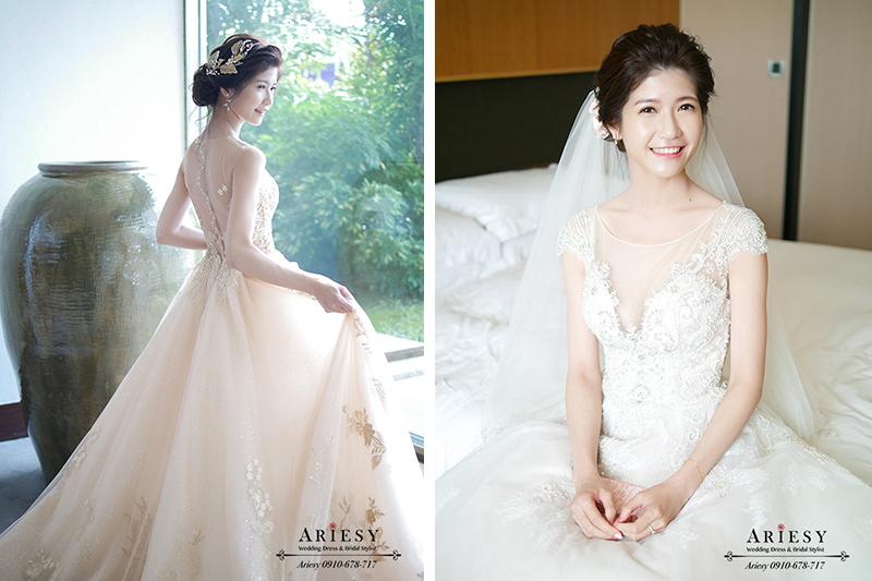 新娘秘書,新秘,白紗造型,金色禮服新娘婚紗,鮮花新秘,宜蘭晶英酒店