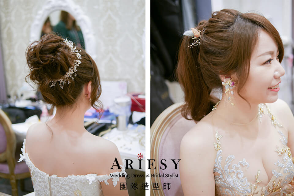 新娘白紗造型,線條感新娘髮型,新秘推薦,新秘花藝,花耳環