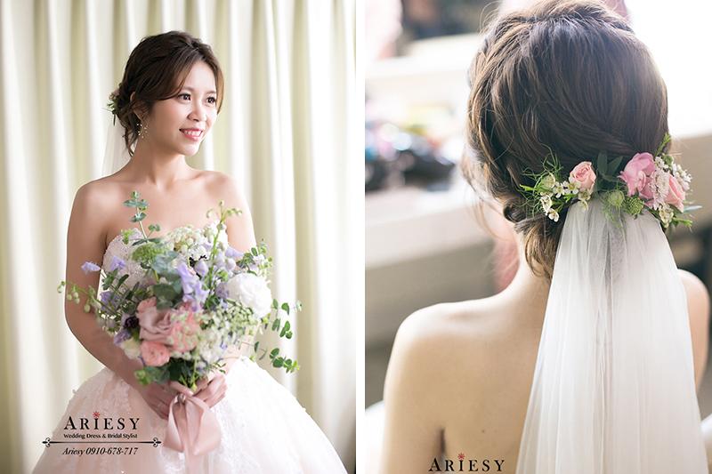 韓系清透新娘妝感,歐美新秘,鮮花編髮新娘造型,愛瑞思,ariesy
