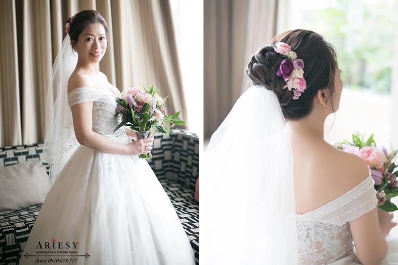 台中新秘,白紗鮮花新娘造型,新娘秘書,美式繽紛飽和粉紫色捧花,ARIESY,愛瑞思