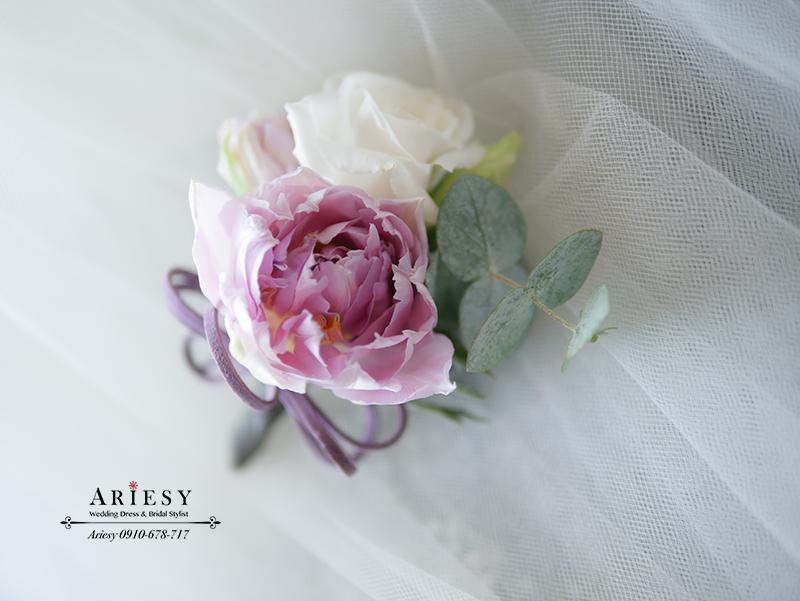 新郎胸花,美式捧花,新娘秘書,新秘,ariesy,愛瑞思,紫色胸花