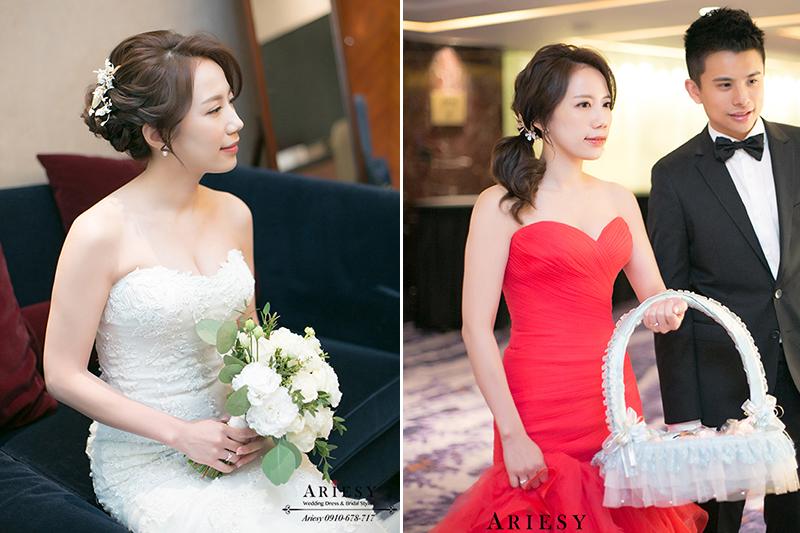ARIESY新娘秘書,台北美式新秘,喜來登新娘婚禮,紅色禮服新娘造型,側邊馬尾造型,歐美新秘編髮盤髮