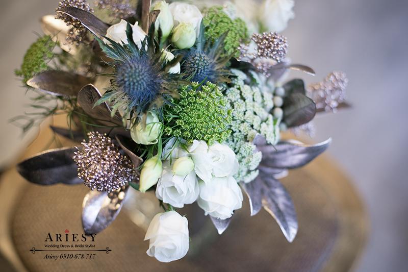 送客小捧花,新娘捧花,銀色捧花,美式捧花,Bridalbouquet,愛瑞思,ARIESY