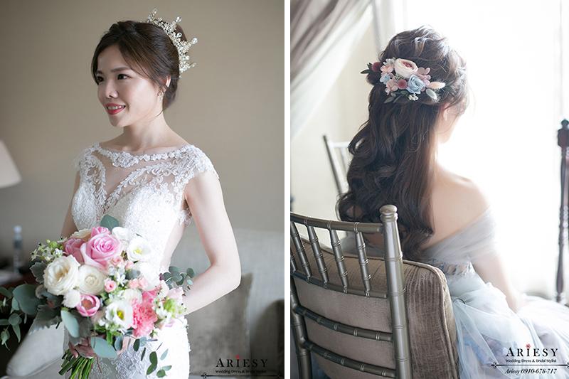 愛瑞思,ARIESY新娘秘書,新秘,台北鮮花新秘,新娘捧花,粉紅色捧花,白紗皇冠新娘造型