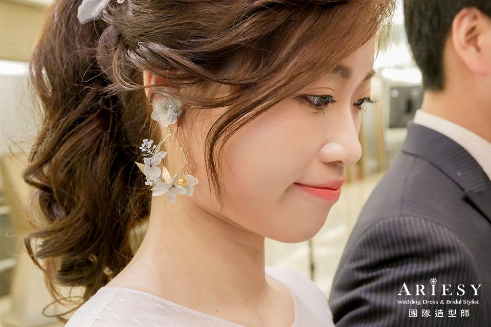 花耳環,新娘自然妝,甜美新娘,敬酒造型,鮮花新秘