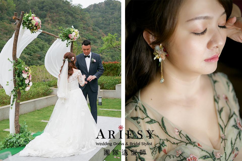 花耳環,新娘自然妝,歐美風格,證婚造型,鮮花新秘
