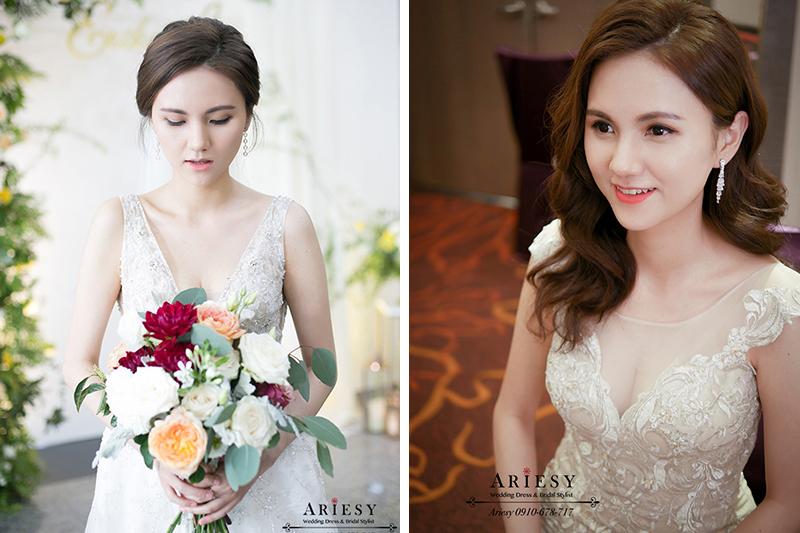 愛瑞思,ARIESY新娘秘書,新秘,台北新秘,歐美混血新娘造型,美式新娘捧花,歐美新娘造型