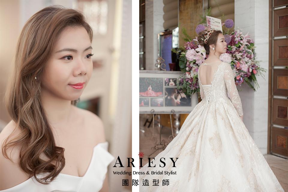 華麗宮廷風格,不凋花耳環,新娘髮型,台北新秘,新秘花藝
