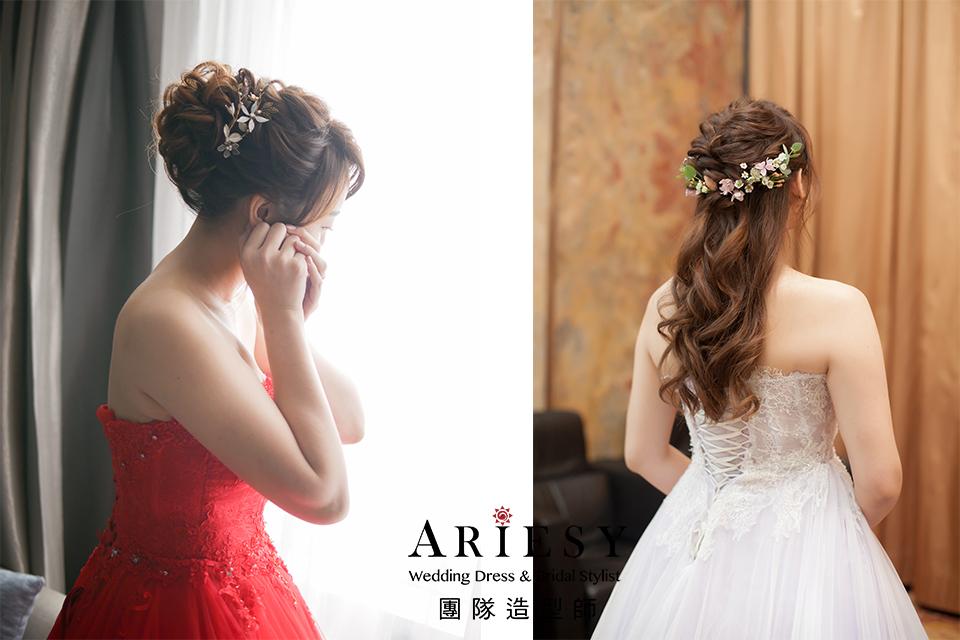 紅色禮服造型,新娘髮型,台北新秘,新秘花藝,新娘秘書