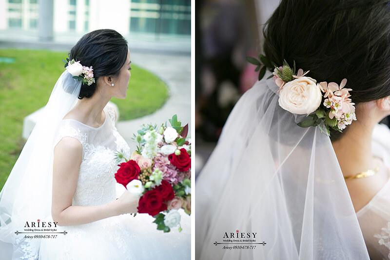 台北新秘推薦,黑髮新娘造型,新娘秘書,手作紅色美式捧花,愛瑞思,ARIESY
